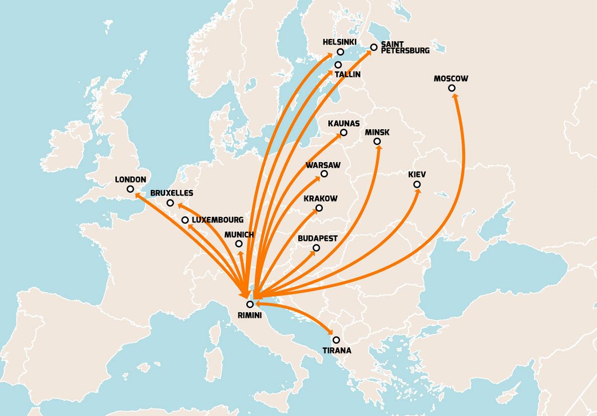 flights Rimini to Europe